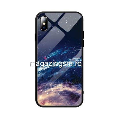 Husa iPhone XS Max Cu Spate Din Sticla Albastra