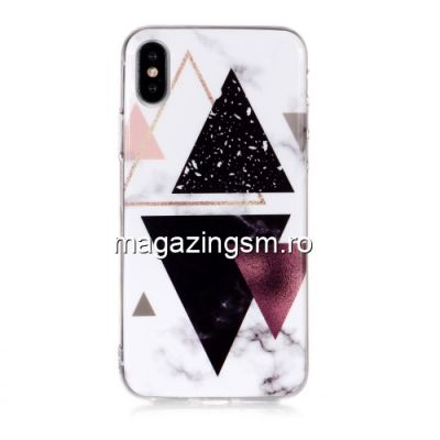 Husa iPhone XS TPU Marble Pattern Alba