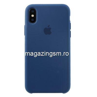 Husa iPhone X Silicon Albastra