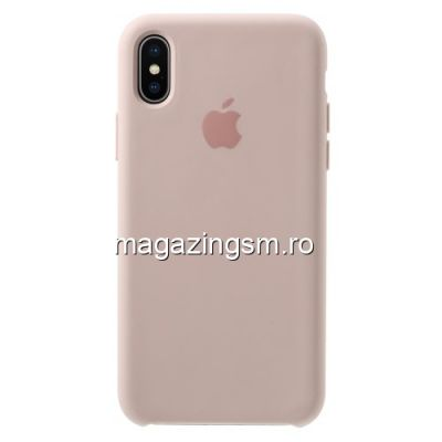 Husa iPhone X Silicon Roz Aurie