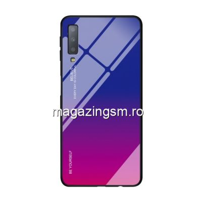 Husa Samsung Galaxy A7 A750 2018 Cu Spate Din Sticla Albastra