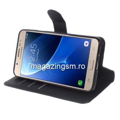 Husa Samsung Galaxy J7 J710 2016 Flip Cu Stand Neagra