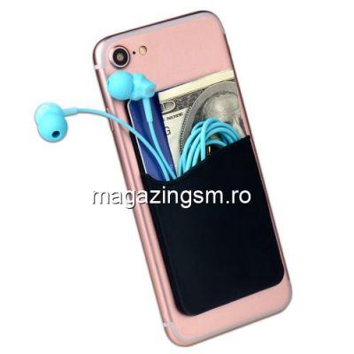 Husa Tip Suport Card iPhone Samsung Universala Silicon Neagra