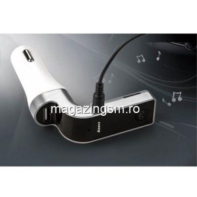 Incarcator Auto iPhone Samsung Huawei Univesal Cu Modulator FM Bluetooth G7 Argintiu