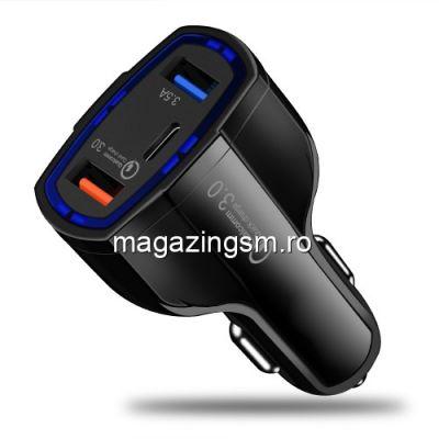 Incarcator Auto iPhone Samsung Nokia Sony Dual USB Si USB Type C Negru