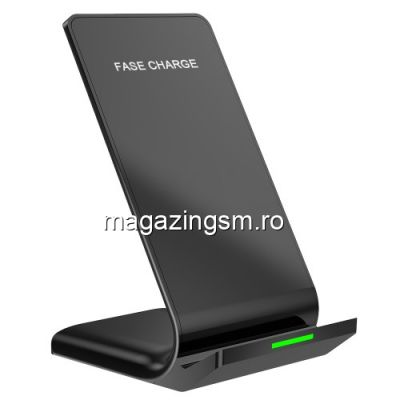 Incarcator Qi Wireless Tip Suport Telefon Samsung iPhone Huawei Asus Negru