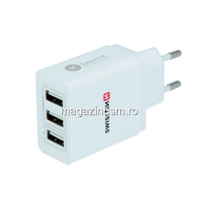 Incarcator Retea 3X USB 3,1A Samsung Huawei LG Nokia iPhone Asus Alb