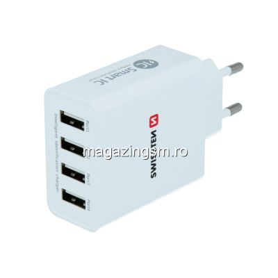 Incarcator Retea 4X USB 5A Samsung Huawei LG Nokia iPhone Asus Allview Xiaomi Alb