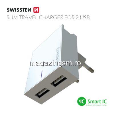 Incarcator Retea Dual USB 3A Cu Cablu USB Type C Samsung Huawei LG Nokia Alb