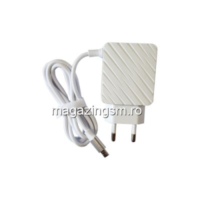 Incarcator Retea Dual USB Cu Cablu Micro USB Samsung LG Huawei Nokia Alb