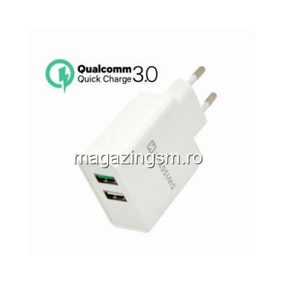 Incarcator Retea Dual USB Quick Charge 3,0 30W Samsung Huawei LG Nokia iPhone Alb