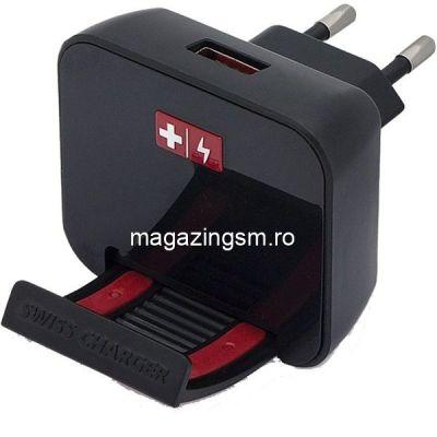 Incarcator Retea Samsung Huawei iPhone Cu Cablu Micro USB Negru