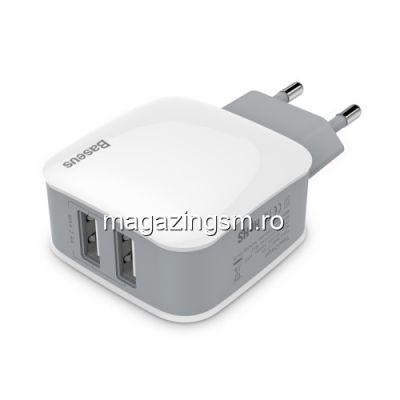 Incarcator Retea Universal Samsung Huawei Sony Nokia Dual USB BASEUS Alb