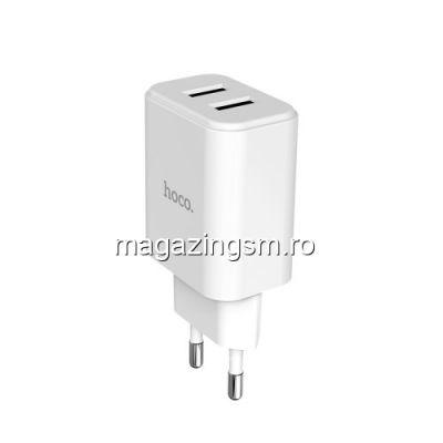 Incarcator Retea Universal Samsung Huawei iPhone Dual USB Alb