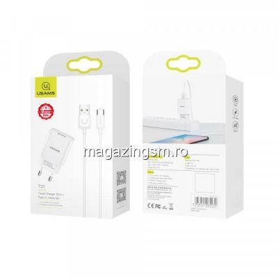 Incarcator Retea USAMS 2,1A Cu Cablu USB Type C Alb
