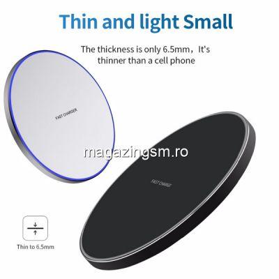 Incarcator Wireless 10W Samsung iPhone Huawei Xiaomi Universal Negru