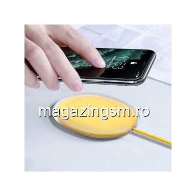 Incarcator Wireless 15W Samsung iPhone Huawei Xiaomi Universal Galben