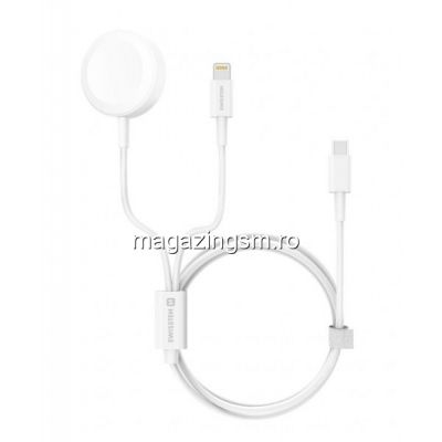 Incarcator Wireless 2in1 Apple Watch si lightning Alb