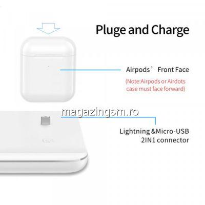 Incarcator Universal Wireless CSC 3in1 Qi Fast Charger 15W,  cu mufa lightning, Negru