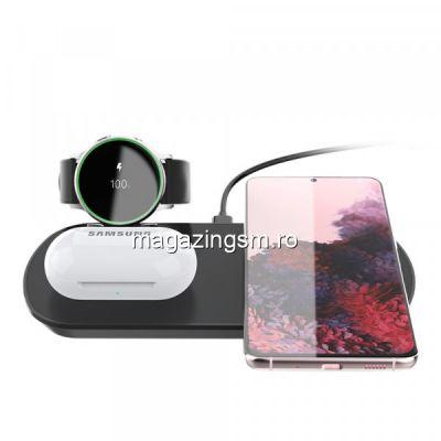 Incarcator Wireless 3 in 1 Samsung Ceas Active 1 / 2 Casti Buds Negru