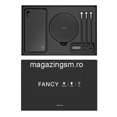Incarcator Wireless Cu Husa iPhone X Si Cablu De Date Pachet 3-in 1 Negru