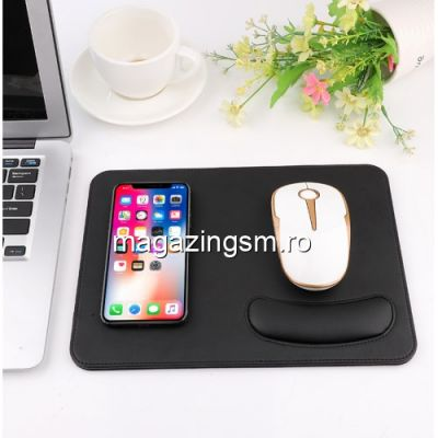Incarcator Wireless Tip Mouse Pad 2-in 1 iPhone Samsung Huawei Sony Negru