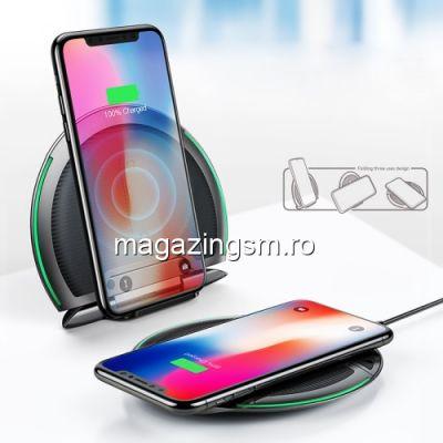 Incarcator Wireless Tip Suport Telefon Huawei iPhone Samsung Asus HTC Negru