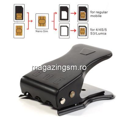 Micro SimCard si NanoSim Card Cutter 3 in 1 Universal Negru
