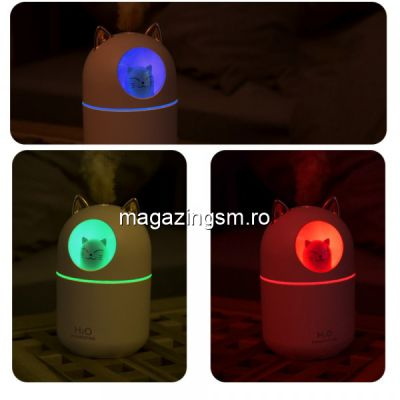 Mini umidificator cu lumina de noapte colorata, Alb