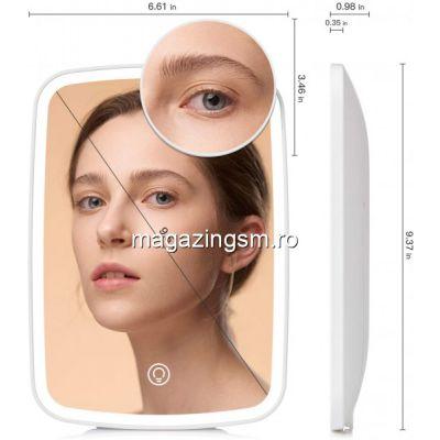 Oglinda cosmetica Jordan Judy iluminare 3 culori si mini oglinda de marire 10x detasabila