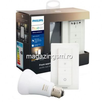 Pachet bec inteligent LED Philips HUE Bluetooth/Wireless, E27 60W 806lm A+ lumina alba si Intrerupator
