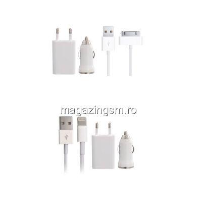 Pachet Incarcatoare Priza Si Auto Cu Cablu iPhone 4 4s 5 5s 5c 6 6 Plus 6 6s Plus 7 7 Plus (10bucati)