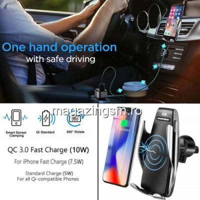 Suport Auto Cu Incarcator Wireless Fast Charge Si Senzor Inteligent