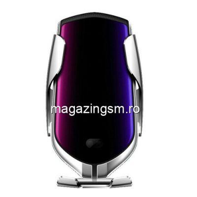 Suport Auto Cu Incarcator Wireless iPhone Samsung Huawei Argintiu