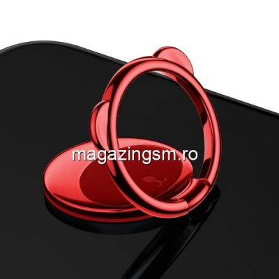 Suport Telefon iPhone Samsung Huawei Allview Stand Finger Grip Inel Magnetic Urs Rosu