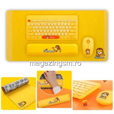 Tastatura Wireless Cu Mouse Si Pad Portocalie