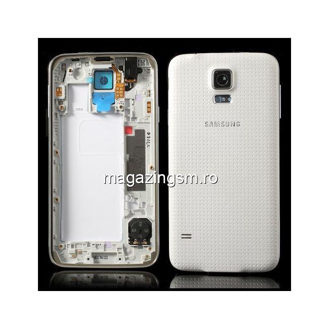 9ddbdd2c0a4 Carcasa Corp Mijloc Samsung Galaxy S5 Cu Capac Baterie Spate Originala Alba