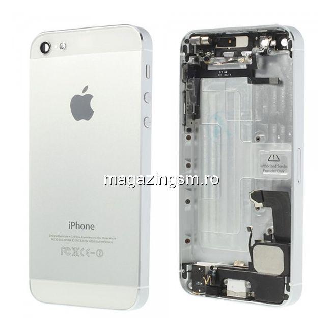 ca861dc681c Caracsa Mijloc iPhone 5 Completa Argintie SWAP Alba Pret