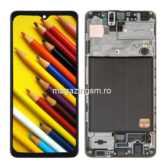 Display Cu Touchscreen Si Rama Samsung Galaxy A51 A515 OLED Negru