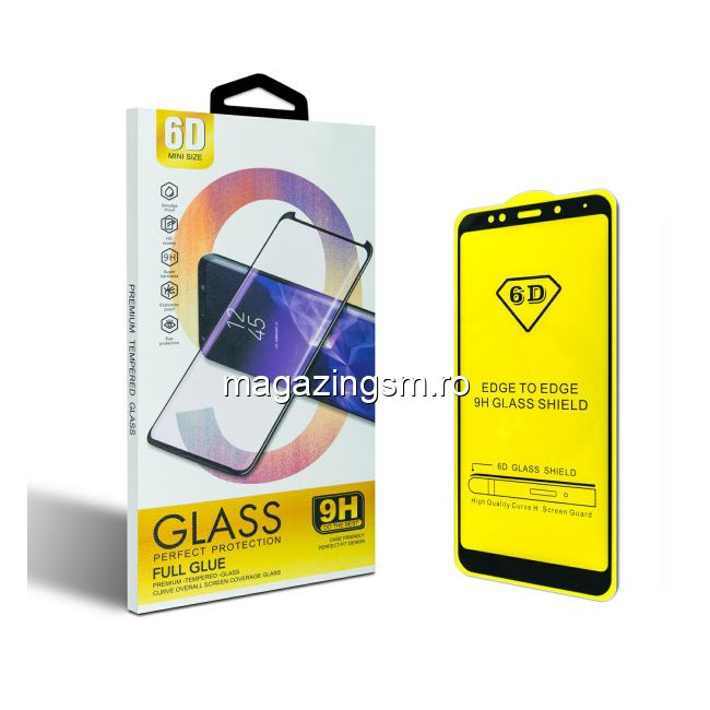 Folie protectie sticla 6D, Full Glue OPPO A72, Negru