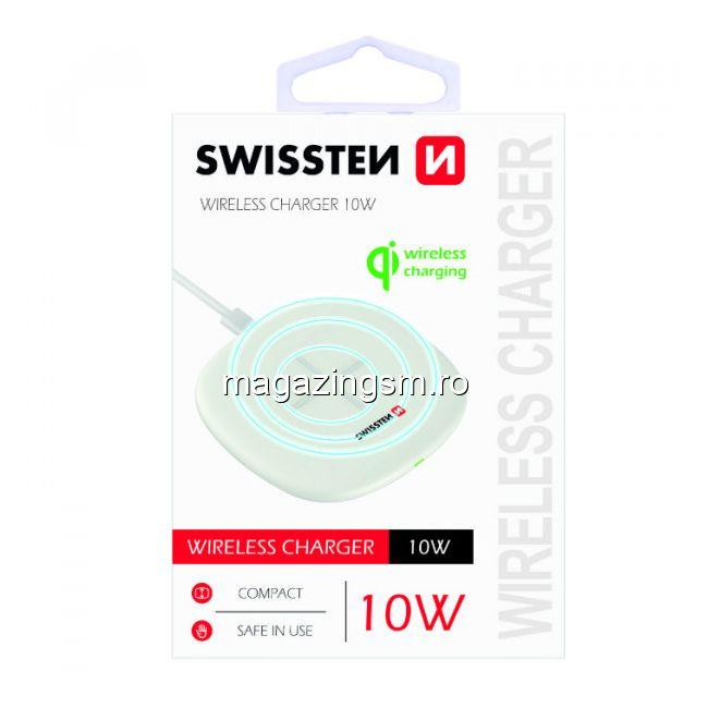 Incarcator Wireless 10W Samsung iPhone Huawei LG Asus Alb