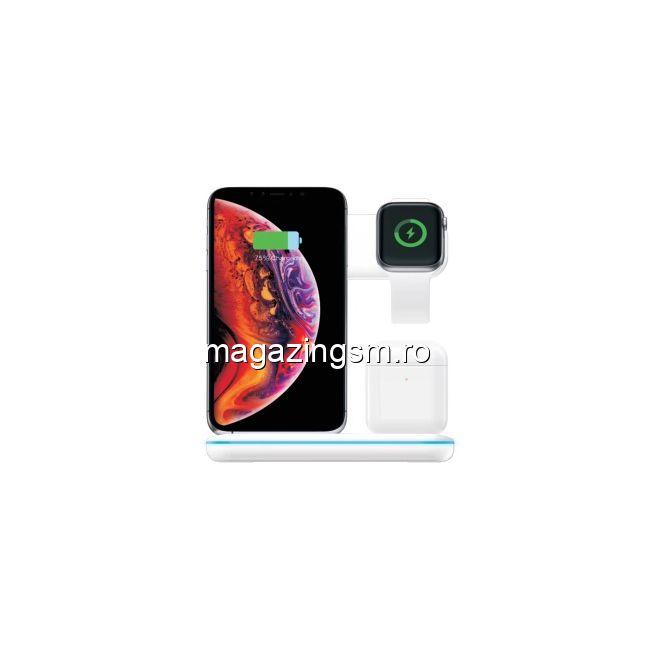 Incarcator Wireless 3 in 1 iPhone Ceas Apple Casti Apple AirPods Alb