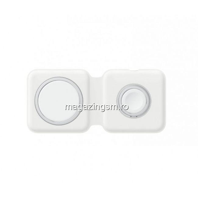 Incarcator wireless Magsafe Duo Charger, USB C, Pliabil, Alb