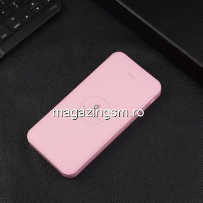 Acumulator Extern cu Incarcare Wireless iPhone Samsung Power Bank Wireless Charger 10000mAh Roz