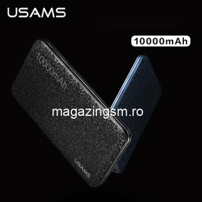 Acumulator Extern iPhone iPad Samsung Huawei HTC LG Power Bank Dual USB 10000mAh USAMS Mozaic Negru