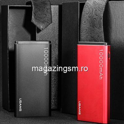 Acumulator Extern iPhone iPad Samsung Huawei HTC LG Power Bank Dual USB 10000mAh USAMS Rosu