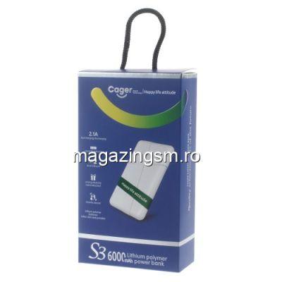 Acumulator Extern iPhone iPad Samsung Huawei HTC LG Power Bank Dual USB 6000mAh CAGER Turcoaz