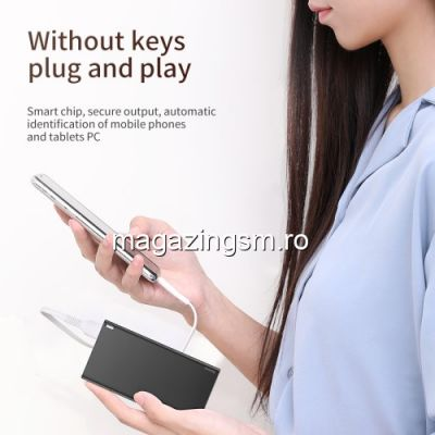 Acumulator Extern iPhone iPad Samsung Huawei Power Bank 10000mAh BASEUS Negru