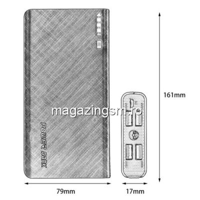 Acumulator Extern iPhone iPad Samsung Huawei Power Bank 4 Porturi USB 20000mAh Rosu