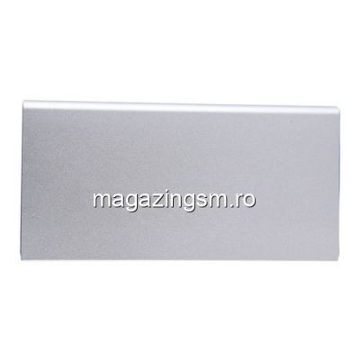 Acumulator Extern iPhone iPad Samsung Huawei Power Bank Dual USB 20000mAh Argintiu